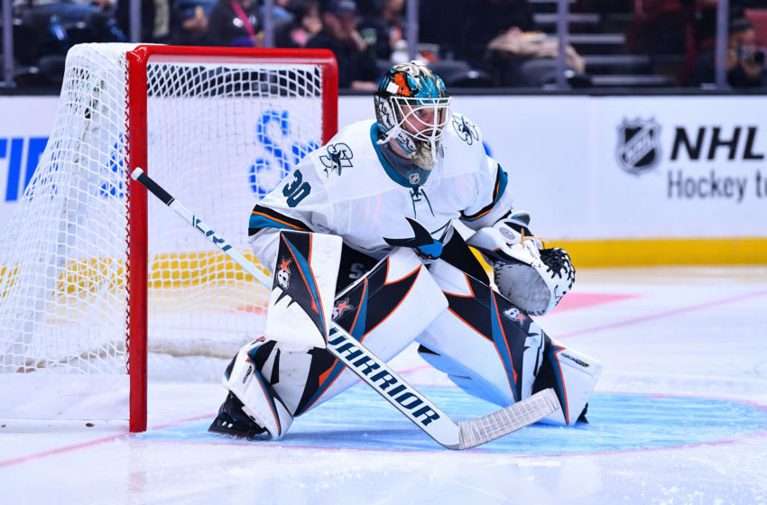 ANAHEIM, CA - SEPTEMBER 20: San Jose Sharks goalie Aaron Dell (30) in action during a NHL preseason game between the Anaheim Ducks and the San Jose Sharks played on September 20, 2018 at the Honda Center in Anaheim, CA.