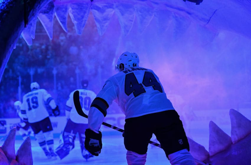 SAN JOSE, CA - DECEMBER 22: Marc-Edouard Vlasic #44 of the San Jose Sharks takes the ice through the Shark Head against the Los Angeles Kings at SAP Center on December 22 2018 in San Jose, California (Photo by Brandon Magnus/NHLI via Getty Images)