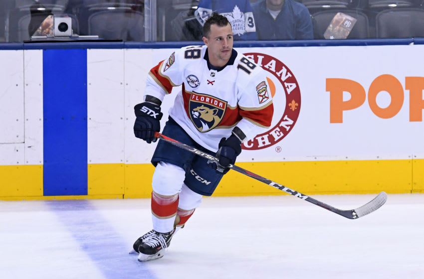 TORONTO, ON - DECEMBER 20: Florida Panthers Left Wing Micheal Haley (18) in warmups prior to the regular season NHL game between the Florida Panthers and Toronto Maple Leafs on December 20, 2018 at Scotiabank Arena in Toronto, ON. (Photo by Gerry Angus/Icon Sportswire via Getty Images)