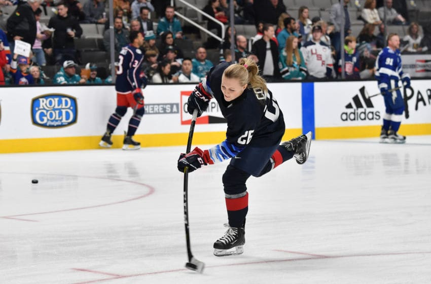 SAN JOSE, CA - JANUARY 25: Kendall Coyne #26 of the U.S. Women's National Hockey team skates during warm-up prior to the 2019 SAP NHL All-Star Skills at SAP Center on January 25, 2019 in San Jose, California. (Photo by Brandon Magnus/NHLI via Getty Images)