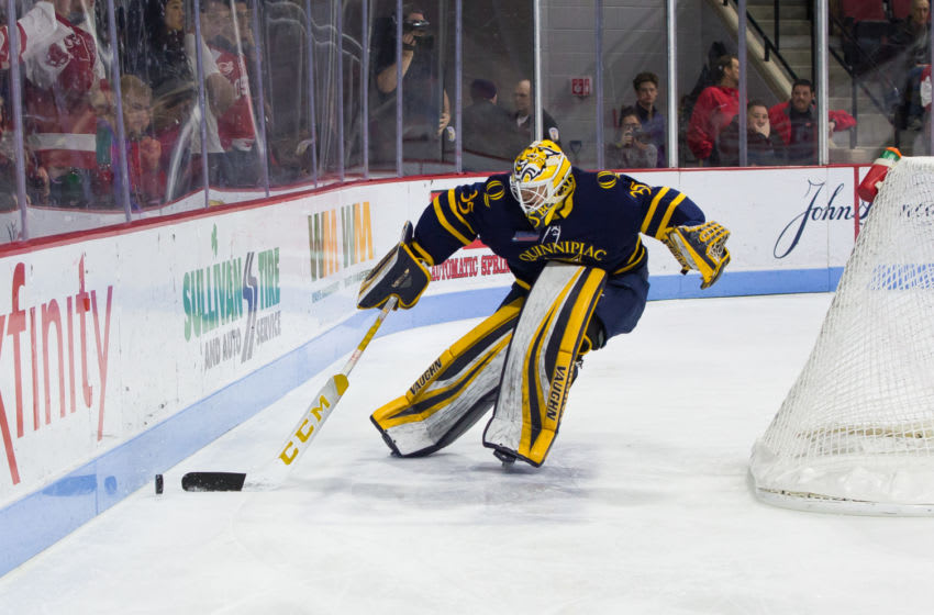 BOSTON, MA - JANUARY 19: Andrew Shortridge #35 of the Quinnipiac University Bobcats tends goal against the Boston University Terriers during NCAA men's hockey at Agganis Arena on January 19, 2019 in Boston, Massachusetts. The Bobcats won 4-3 on a goal with 2.5 seconds remaining in regulation. (Photo by Richard T Gagnon/Getty Images)