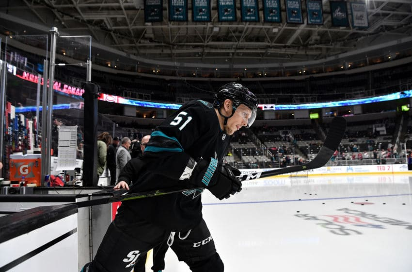 SAN JOSE, CA - MARCH 07: Radim Simek #51 of the San Jose Sharks takes the ice for warmups against the Montreal Canadiens at SAP Center on March 7, 2019 in San Jose, California (Photo by Brandon Magnus/NHLI via Getty Images)