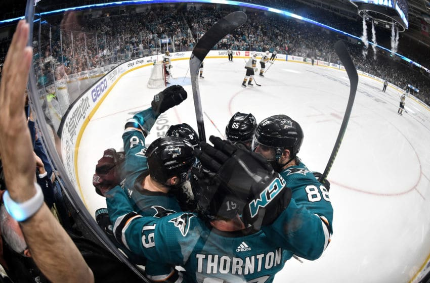 SAN JOSE, CA - APRIL 18: Tomas Hertl #48, Brent Burns #88, Erik Karlsson #65, Joe Pavelski #8 and Joe Thornton #19 of the San Jose Sharks celebrates scoring a goal against the Vegas Golden Knights in Game Five of the Western Conference First Round during the 2019 NHL Stanley Cup Playoffs at SAP Center on April 18, 2019 in San Jose, California (Photo by Brandon Magnus/NHLI via Getty Images)