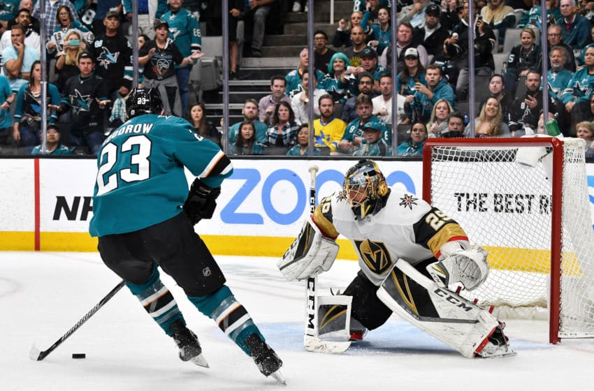 SAN JOSE, CA - APRIL 23: Barclay Goodrow #23 of the San Jose Sharks scores the game-winning goal against Marc-Andre Fleury #29 of the Vegas Golden Knights in Game Seven of the Western Conference First Round during the 2019 NHL Stanley Cup Playoffs at SAP Center on April 23, 2019 in San Jose, California (Photo by Brandon Magnus/NHLI via Getty Images)