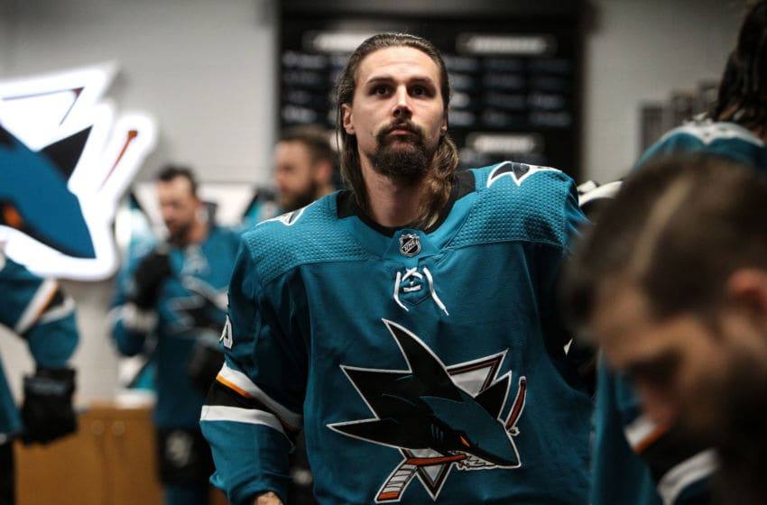 SAN JOSE, CA - MAY 04: Erik Karlsson #65 of the San Jose Sharks prepares to take the ice for warmups against the Colorado Avalanche in Game Five of the Western Conference Second Round during the 2019 NHL Stanley Cup Playoffs at SAP Center on May 4, 2019 in San Jose, California (Photo by Kavin Mistry/NHLI via Getty Images)