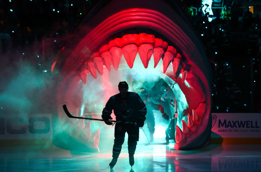 SAN JOSE, CA - MAY 08: San Jose Sharks players take the ice during game seven of the second round of the Stanley Cup Playoffs between the Colorado Avalanche and the San Jose Sharks on May 8, 2019 at SAP Center in San Jose, CA. (Photo by Cody Glenn/Icon Sportswire via Getty Images)