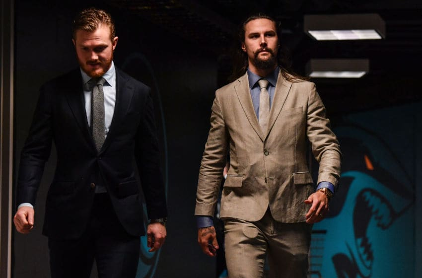 SAN JOSE, CA - MAY 13: Gustave Nyquist #14 and Erik Karlsson #65 of the San Jose Sharks arrive to the arena before facing the St. Louis Blues in Game Two of the Western Conference Final during the 2019 NHL Stanley Cup Playoffs at SAP Center on May 13, 2019 in San Jose, California (Photo by Brandon Magnus/NHLI via Getty Images)