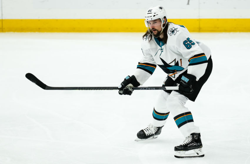 ST. LOUIS, MO - MAY 17: San Jose Sharks' Erik Karlsson on the ice during the second period of Game 4 of the NHL hockey Stanley Cup Western Conference final series between the St. Louis Blues and the San Jose Sharks on May 17, 2019, at the Enterprise Center in St. Louis, MO. (Photo by Tim Spyers/Icon Sportswire via Getty Images)