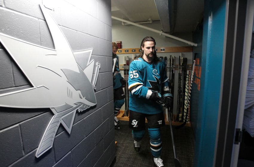 SAN JOSE, CA - MAY 19: Erik Karlsson #65 of the San Jose Sharks takes the ice for warmups against the St. Louis Blues in Game Five of the Western Conference Final during the 2019 NHL Stanley Cup Playoffs at SAP Center on May 19, 2019 in San Jose, California (Photo by Kavin Mistry/NHLI via Getty Images)