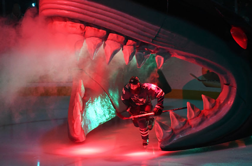 SAN JOSE, CALIFORNIA - MAY 13: Brent Burns #88 of the San Jose Sharks skates onto the ice against the St. Louis Blues prior to Game Two of the Western Conference Final during the 2019 NHL Stanley Cup Playoffs at SAP Center on May 13, 2019 in San Jose, California. (Photo by Thearon W. Henderson/Getty Images)