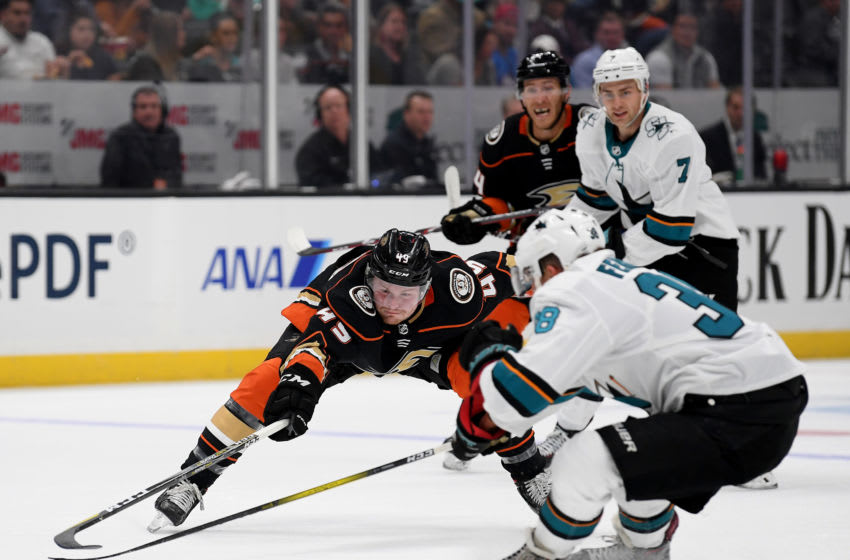 ANAHEIM, CALIFORNIA - SEPTEMBER 24: Max Jones #49 of the Anaheim Ducks reaches for the puck with Mario Ferraro #38 of the San Jose Sharks during the first period in a preseason game at Honda Center on September 24, 2019 in Anaheim, California. (Photo by Harry How/Getty Images)