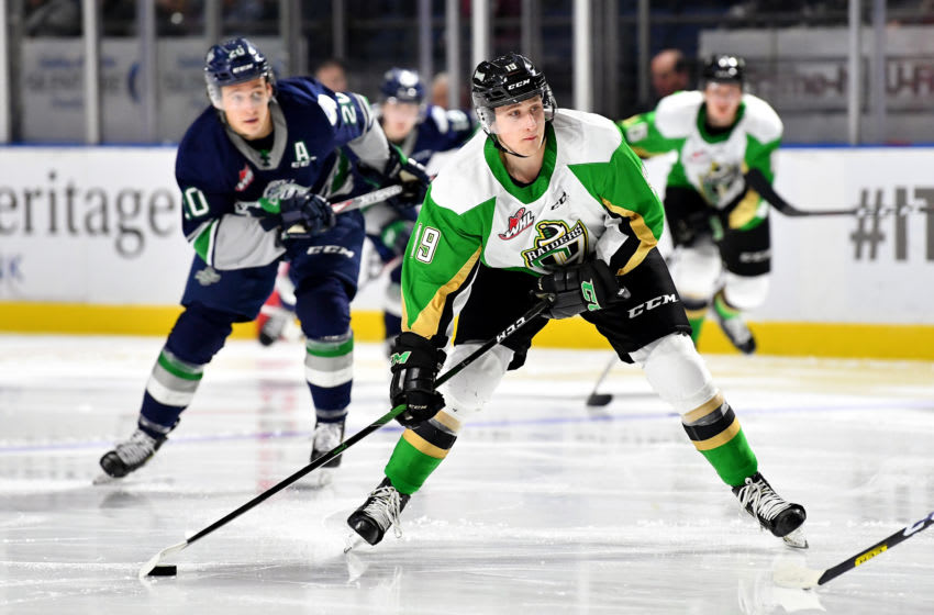 KENT, WASHINGTON - OCTOBER 22: Ozzy Wiesblatt #19 of the Prince Albert Raiders looks for an opening during the second period of the game against the Seattle Thunderbirds at accesso ShoWare Center on October 22, 2019 in Kent, Washington. The Seattle Thunderbirds top the Prince Albert Raiders 3-1. (Photo by Alika Jenner/Getty Images)