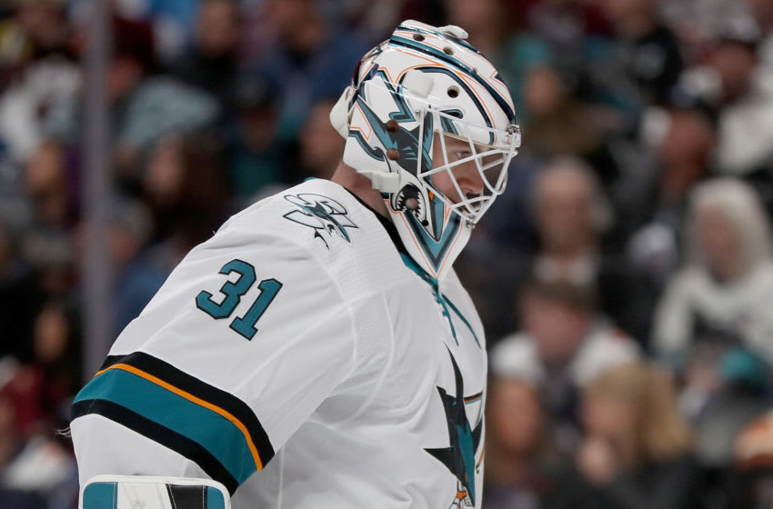 DENVER, COLORADO - JANUARY 16: Martin Jones #31 of the San Jose Sharks tends goal against the Colorado Avalanche in the second period at the Pepsi Center on January 16, 2020 in Denver, Colorado. (Photo by Matthew Stockman/Getty Images)