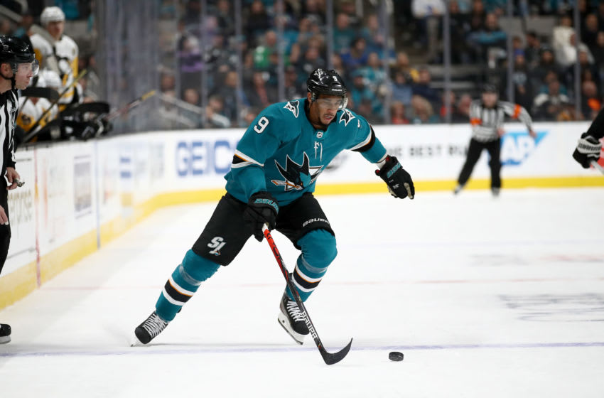 SAN JOSE, CALIFORNIA - FEBRUARY 29: Evander Kane #9 of the San Jose Sharks in action against the Pittsburgh Penguins at SAP Center on February 29, 2020 in San Jose, California. (Photo by Ezra Shaw/Getty Images)