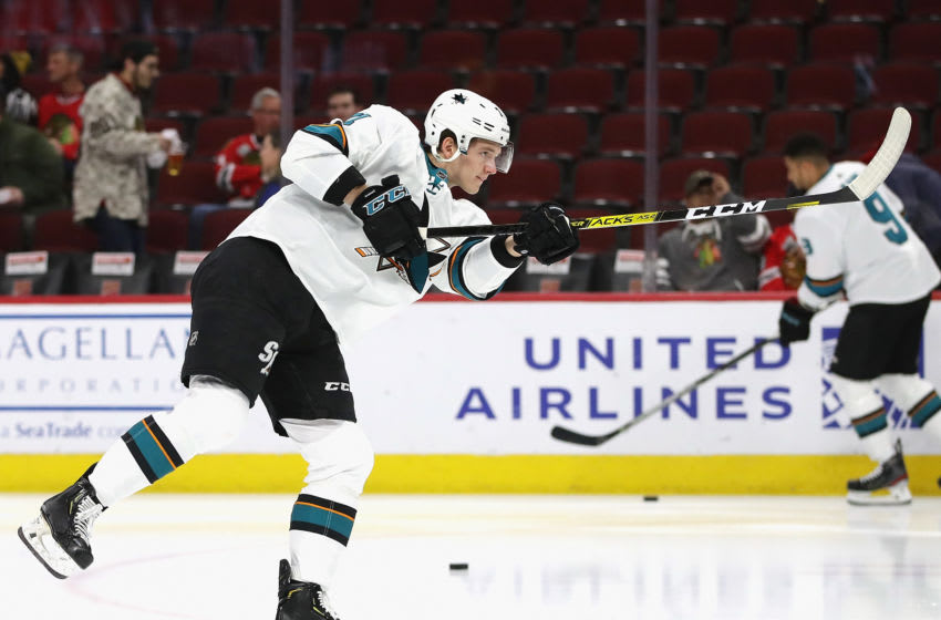CHICAGO, ILLINOIS - MARCH 11: Nikolai Knyzhov #71 of the San Jose Sharks participates in warm-ups before a game against the Chicago Blackhawks at the United Center on March 11, 2020 in Chicago, Illinois. (Photo by Jonathan Daniel/Getty Images)