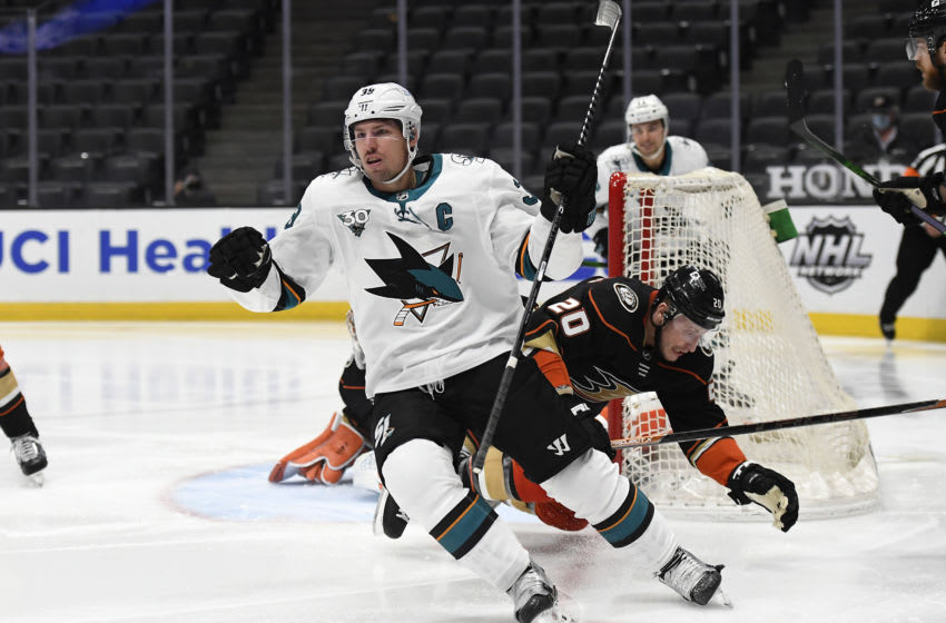 ANAHEIM, CA - FEBRUARY 05: Logan Couture #39 of the San Jose Sharks celebrates after scoring a goal against goalkeeper John Gibson #36 of the Anaheim Ducks during the third period at Honda Center on February 5, 2021 in Anaheim, California. (Photo by Kevork Djansezian/Getty Images)