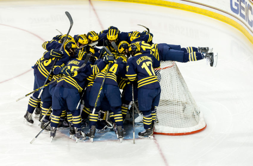 CHESTNUT HILL, MA - DECEMBER 13: Justin Selman #10 of the Michigan Wolverines hangs over the back of the net before NCAA hockey against the Boston College Eagles at Kelley Rink on December 13, 2014 in Chestnut Hill, Massachusetts. (Photo by Richard T Gagnon/Getty Images)