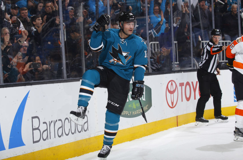 SAN JOSE, CA - DECEMBER 30: Patrick Marleau #12 of the San Jose Sharks celebrates after scoring a goal against the Philadelphia Flyers at SAP Center on December 30, 2016 in San Jose, California. (Photo by Rocky W. Widner/NHL/Getty Images)
