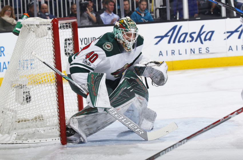 SAN JOSE, CA - JANUARY 05: Devan Dubnyk #40 of the Minnesota Wild defends the net against the San Jose Sharks at SAP Center on January 5, 2017 in San Jose, California. (Photo by Rocky W. Widner/NHL/Getty Images)