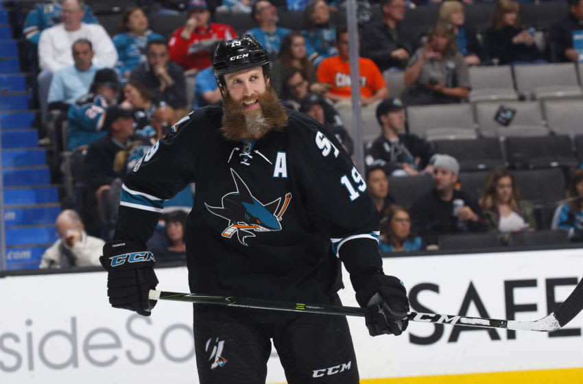 SAN JOSE, CA - MARCH 09:Joe Thornton #19 of the San Jose Sharks looks on during the game against the Washington Capitals at SAP Center on March 9, 2017 in San Jose, California. (Photo by Rocky W. Widner/NHL/Getty Images)