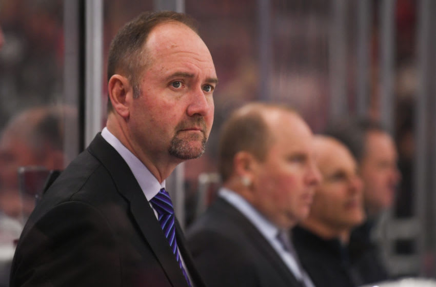 CHICAGO, IL - FEBRUARY 23: San Jose Sharks head coach Peter DeBoer looks on from the bench during a game between the Chicago Blackhawks and the San Jose Sharks on February 23, 2018, at the United Center in Chicago, IL. Blackhawks won 3-1. (Photo by Patrick Gorski/Icon Sportswire via Getty Images)