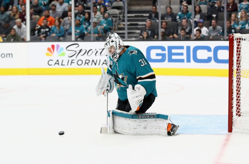 SAN JOSE, CA - OCTOBER 03: Martin Jones #31 of the San Jose Sharks in action against the Anaheim Ducks at SAP Center on October 3, 2018 in San Jose, California. (Photo by Ezra Shaw/Getty Images)