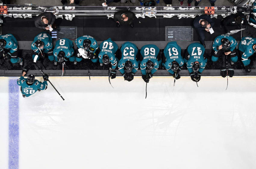 SAN JOSE, CA - NOVEMBER 13: An overhead view as the San Jose Sharks look on from the bench while facing the Nashville Predators at SAP Center on November 13, 2018 in San Jose, California (Photo by Brandon Magnus/NHLI via Getty Images)