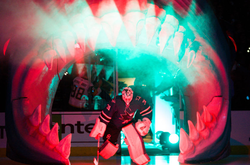 SAN JOSE, CA - APRIL 10: San Jose Sharks goaltender Martin Jones (31) leads the team out before the game for the game 1 of the first round of the Stanley Cup Playoffs between the San Jose Sharks and the Las Vegas Golden Knights on April 10, 2019, at SAP Center in San Jose, CA. (Photo by Samuel Stringer/Icon Sportswire via Getty Images)