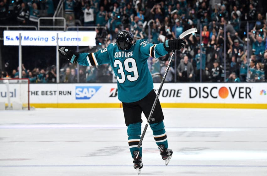 SAN JOSE, CA - APRIL 23: Logan Couture #39 of the San Jose Sharks celebrates scoring a goal against the Vegas Golden Knights in Game Seven of the Western Conference First Round during the 2019 NHL Stanley Cup Playoffs at SAP Center on April 23, 2019 in San Jose, California (Photo by Brandon Magnus/NHLI via Getty Images)