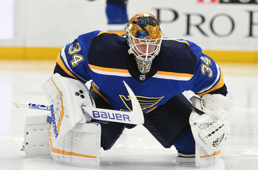 ST. LOUIS, MO. - DECEMBER 11: during a NHL game between the Florida Panthers and the St. Louis Blues on December 11, 2018, at Enterprise Center, St. Louis, MO. (Photo by Keith Gillett/Icon Sportswire via Getty Images)
