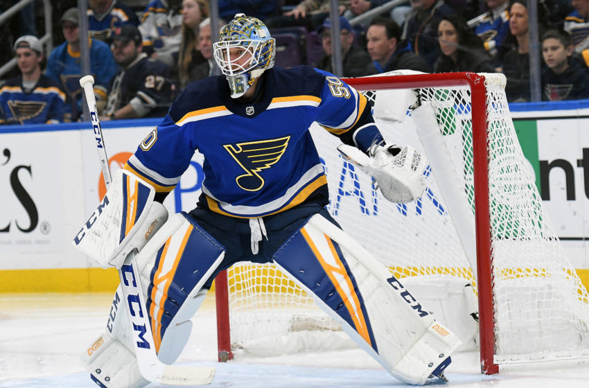 ST. LOUIS, MO. - DECEMBER 16: St. Louis Blues goalie Jordan Binnington (50) during a NHL game between the Calgary Flames and the St. Louis Blues on December 16, 2018, at Enterprise Center, St. Louis, MO. (Photo by Keith Gillett/Icon Sportswire via Getty Images)