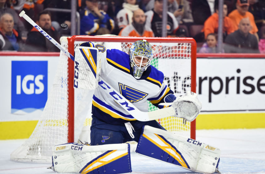 PHILADELPHIA, PA - JANUARY 07: St. Louis Blues Goalie Jordan Binnington (50) makes a save in the first period during the game between the Saint Louis Blues and Philadelphia Flyers on January 07, 2019 at Wells Fargo Center in Philadelphia, PA. (Photo by Kyle Ross/Icon Sportswire via Getty Images)