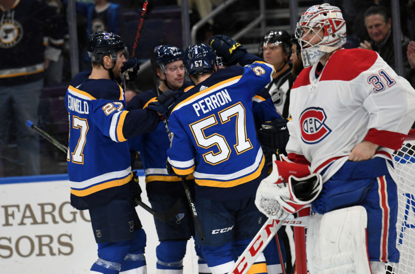 ST. LOUIS, MO. - JANUARY 10: Blues players celebrate after scoring in the first period during an NHL game between the Montreal Canadiens and the St. Louis Blues on January 10, 2019, at Enterprise Center, St. Louis, MO. (Photo by Keith Gillett/Icon Sportswire via Getty Images)