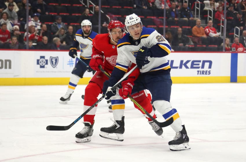 DETROIT, MICHIGAN - NOVEMBER 28: Tyler Bozak #21 of the St. Louis Blues skates against the Detroit Red Wings at Little Caesars Arena on November 28, 2018 in Detroit, Michigan. Detroit won the game 4-3. (Photo by Gregory Shamus/Getty Images)