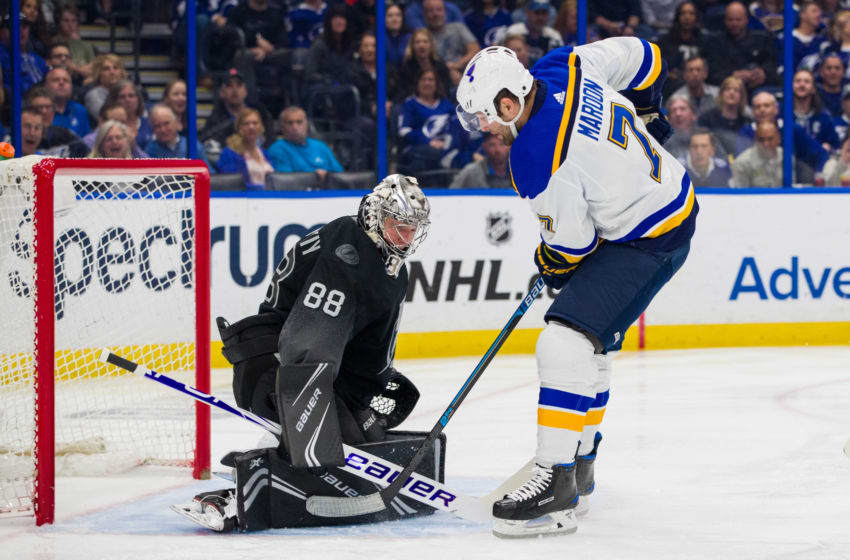 TAMPA, FL - FEBRUARY 7: Goalie Andrei Vasilevskiy #88 of the Tampa Bay Lightning tends net against Pat Maroon #7 of the St Louis Blues during the first period at Amalie Arena on February 7, 2019 in Tampa, Florida. (Photo by Mark LoMoglio/NHLI via Getty Images)