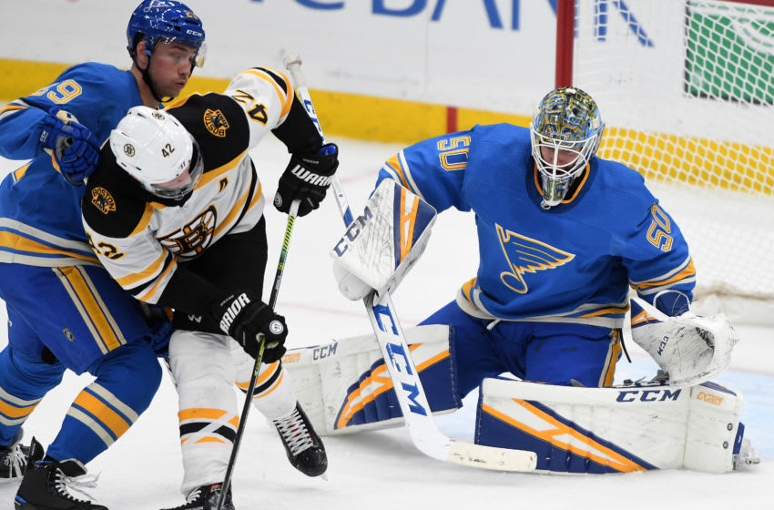 ST. LOUIS, MO- FEBRUARY 23: St. Louis Blues goalie Jordan Binnington (50) gets ready to block a shot by Boston Bruins rightwing David Backes (42) during a NHL game between the Boston Bruins and the St. Louis Blues on February 23, 2019, at Enterprise Center, St. Louis, MO. (Photo by Keith Gillett/Icon Sportswire via Getty Images)