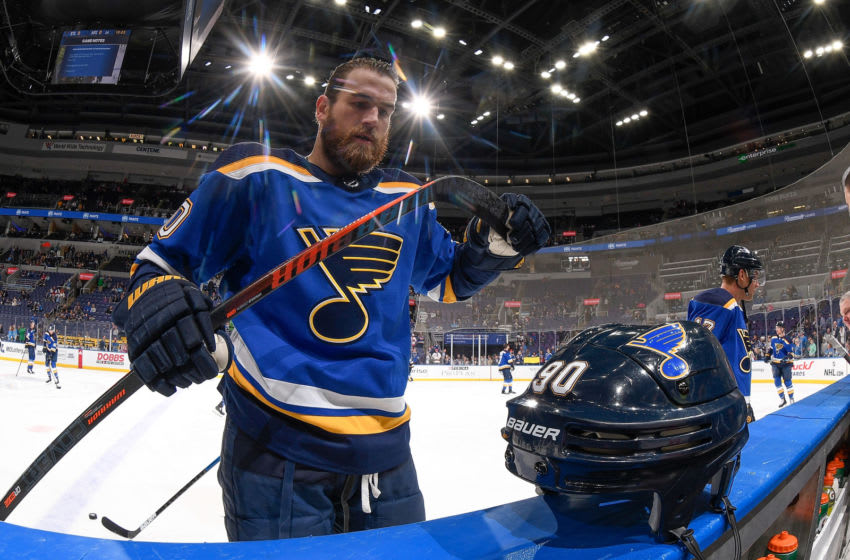 ST. LOUIS, MO - MARCH 12: Ryan O'Reilly #90 of the St. Louis Blues during warmups before the game against the Arizona Coyotes at Enterprise Center on March 12, 2019 in St. Louis, Missouri. (Photo by Scott Rovak/NHLI via Getty Images)