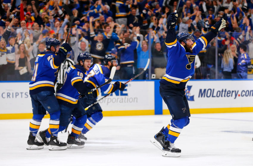 ST. LOUIS, MO - MAY 7: Pat Maroon #7 of the St. Louis Blues celebrates after scoring the game-winning goal in double overtime in Game Seven of the Western Conference Second Round during the 2019 NHL Stanley Cup Playoffs at the Enterprise Center on May 7, 2019 in St. Louis, Missouri. (Photo by Dilip Vishwanat/Getty Images)