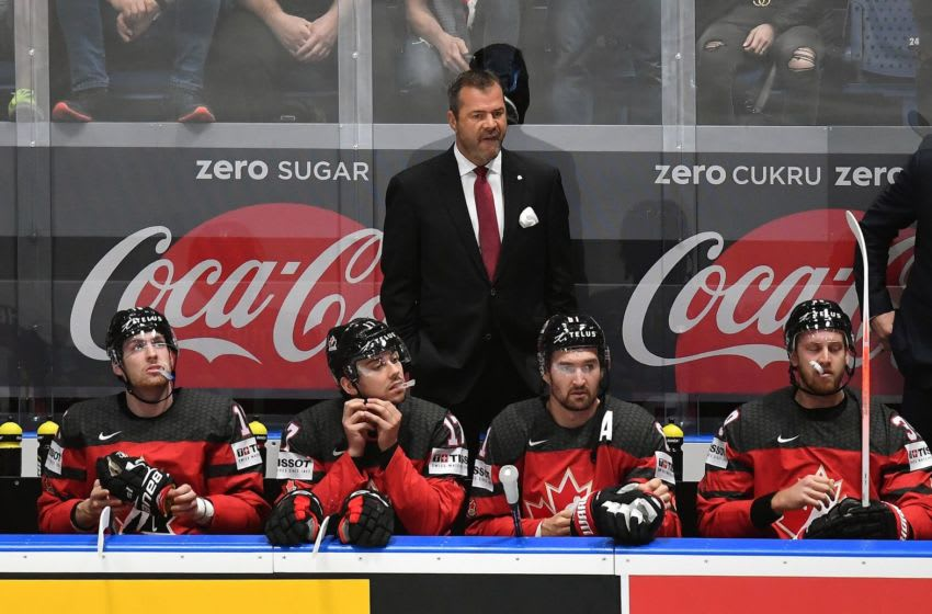 Canada's coach Alain Vigneault follows the action from the sidelines during the IIHF Men's Ice Hockey World Championships semi-final match between Canada and Czech Republic on May 25, 2019 at the Ondrej Nepela Arena in Bratislava, Slovakia. (Photo by JOE KLAMAR / AFP) (Photo credit should read JOE KLAMAR/AFP via Getty Images)