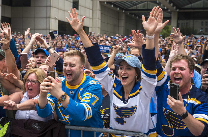 ST LOUIS, MO - JUNE 15: Fans cheer during the St Louis Blues Victory Parade and Rally after winning the 2019 Stanley Cup Final on June 15, 2019 in St Louis, Missouri. (Photo by Nic Antaya/Getty Images)