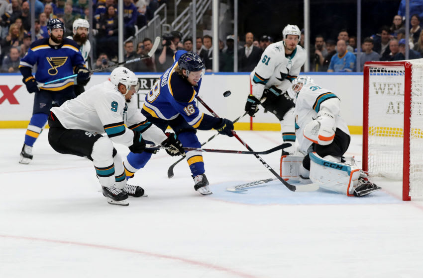 Robert Thomas #18 of the St. Louis Blues (Photo by Elsa/Getty Images)