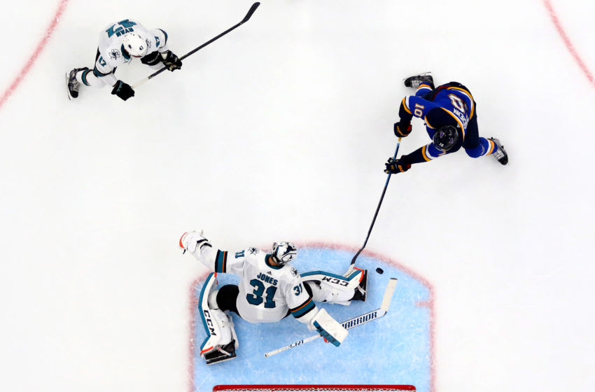 ST LOUIS, MISSOURI - MAY 21: Martin Jones #31 of the San Jose Sharks tends goal against Brayden Schenn #10 of the St. Louis Blues in Game Six of the Western Conference Finals during the 2019 NHL Stanley Cup Playoffs at Enterprise Center on May 21, 2019 in St Louis, Missouri. (Photo by Dilip Vishwanat/Getty Images)