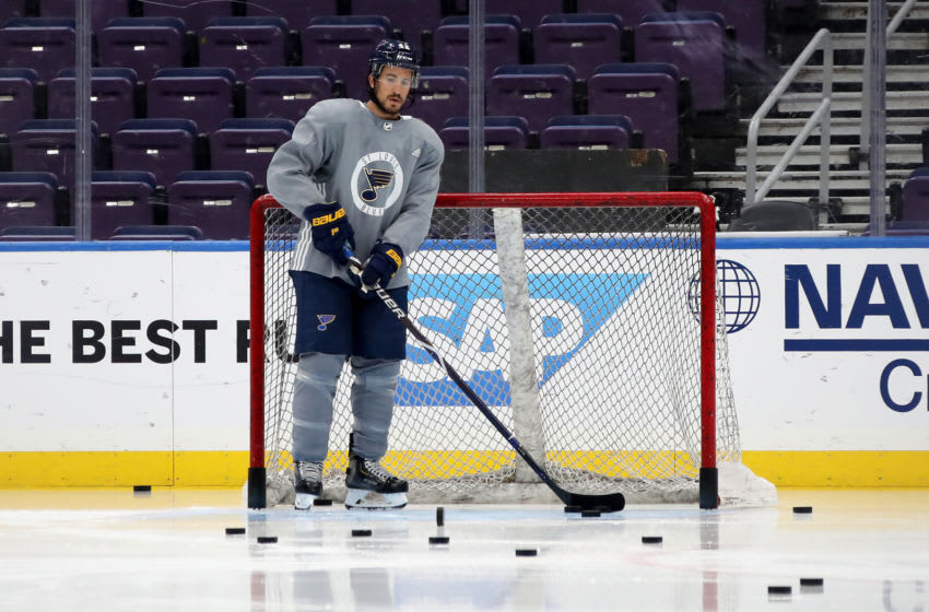 ST LOUIS, MISSOURI - MAY 31: Michael Del Zotto #42 of the St. Louis Blues looks on during a practice session ahead of Game Three of the 2019 NHL Stanley Cup Final at Enterprise Center on May 31, 2019 in St Louis, Missouri. (Photo by Bruce Bennett/Getty Images)
