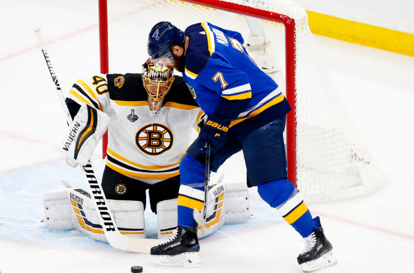 ST LOUIS, MISSOURI - JUNE 01: Pat Maroon #7 of the St. Louis Blues attempts a shot on Tuukka Rask #40 of the Boston Bruins during the first period in Game Three of the 2019 NHL Stanley Cup Final at Enterprise Center on June 01, 2019 in St Louis, Missouri. (Photo by Dilip Vishwanat/Getty Images)