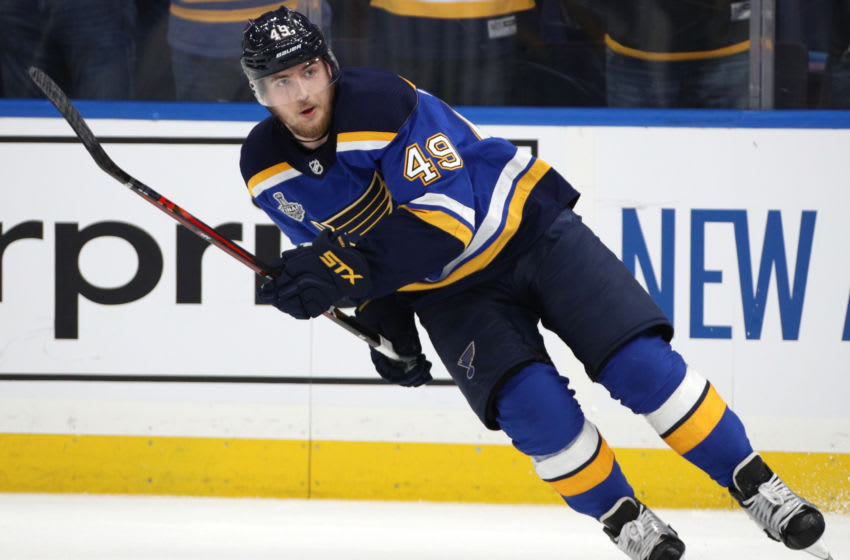 ST LOUIS, MISSOURI - JUNE 03: Ivan Barbashev #49 of the St. Louis Blues plays against the Boston Bruins in Game Four of the 2019 NHL Stanley Cup Final at Enterprise Center on June 03, 2019 in St Louis, Missouri. (Photo by Dave Sandford/NHLI via Getty Images)