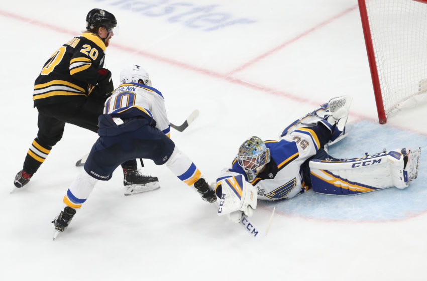BOSTON, MASSACHUSETTS - JUNE 12: Jordan Binnington #50 of the St. Louis Blues tends the net against the Boston Bruins in Game Seven of the 2019 NHL Stanley Cup Final at TD Garden on June 12, 2019 in Boston, Massachusetts. (Photo by Patrick Smith/Getty Images)