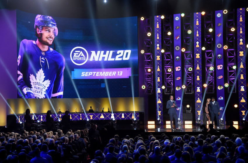 LAS VEGAS, NEVADA - JUNE 19: Auston Matthews of the Toronto Maple Leafs speaks after being revealed as the cover athlete for EA Sports'