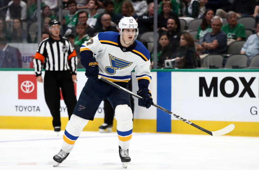 DALLAS, TEXAS - SEPTEMBER 16: Klim Kostin #37 of the St. Louis Blues (Photo by Ronald Martinez/Getty Images)