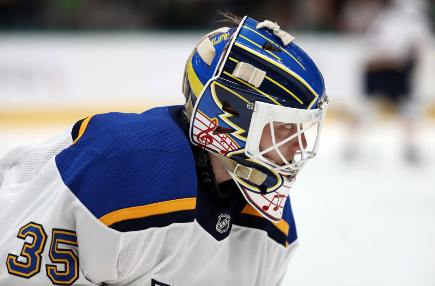 Ville Husso #35 of the St. Louis Blues (Photo by Ronald Martinez/Getty Images)