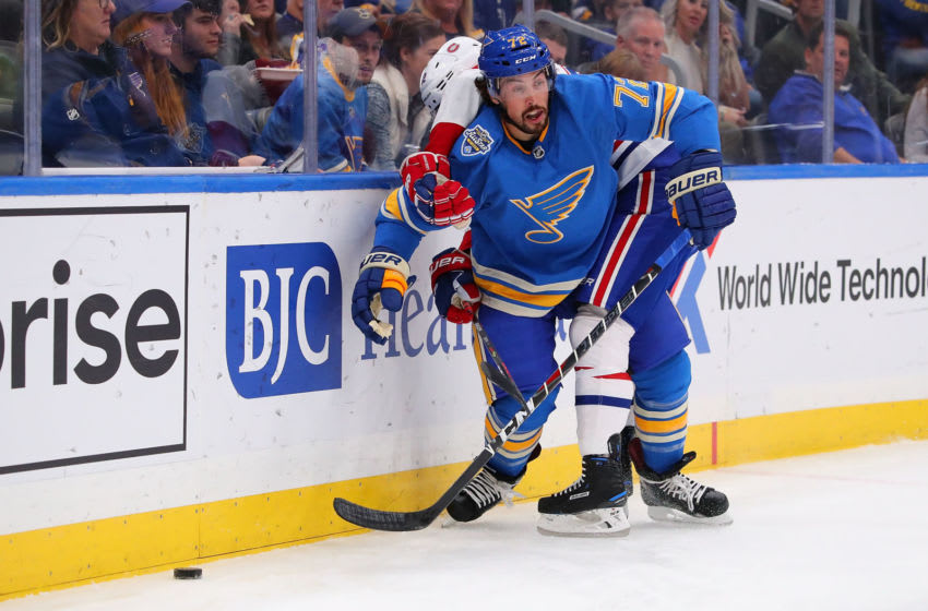 ST LOUIS, MO - OCTOBER 19: Justin Faulk #72 of the St. Louis Blues (Photo by Dilip Vishwanat/Getty Images)